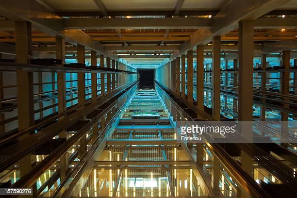 Inside a modern elevator shaft