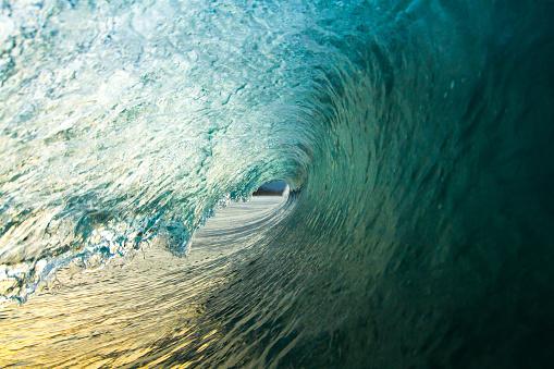 Inside a Prefect Wave in Nicaragua at Sunrise - gettyimageskorea