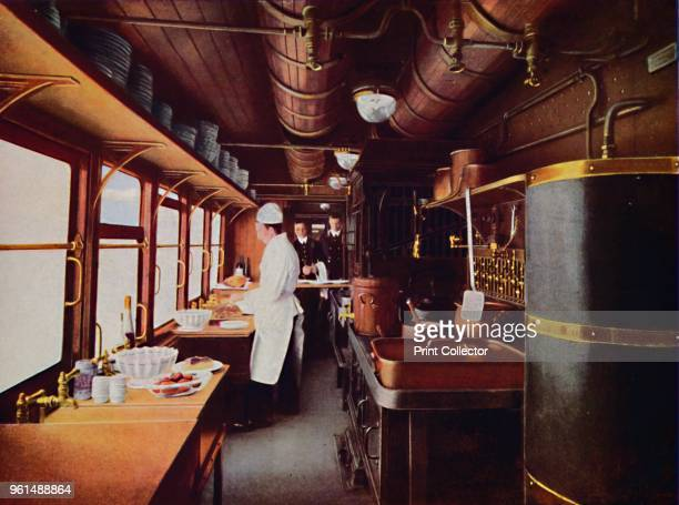 Inside a Restaurant Car Kitchen on the LMS Railway' 1926 From My Railway Book No 40 by Cecil J Allen [John F Shaw Co Ltd London 1926]Artist Unknown