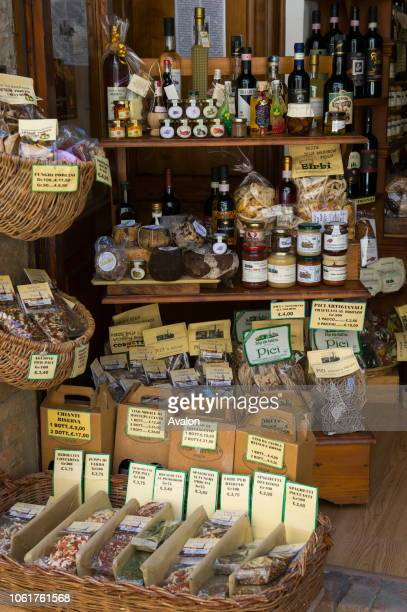 Inside a specialty store displaying local specialties from the region in Pienza, Val d'Orcia, Tuscany, Italy.