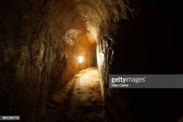 Inside a VietCong tunnel The former Viet Cong guerrilla camp 75km north of Saigon known as 'Cu Chi' was largest underground tunnel network in the...