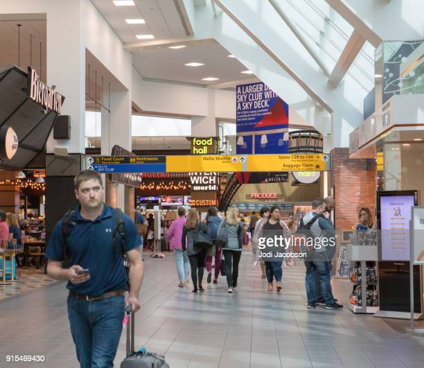 inside airline terminal at laguardia airport in new york - laguardia airport stock pictures, royalty-free photos & images
