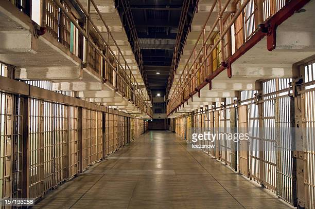 inside alcatraz prison - row of bars and cells - alcatraz stock photos and pictures