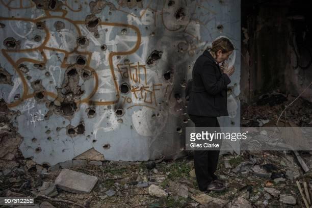 Inside an abandoned building on the former sniper alley, Sarajevo.