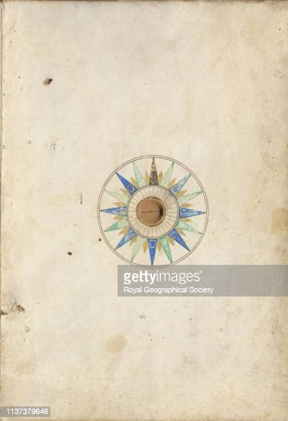 [Inside back cover of atlas showing housing for magnetic compass needle missing] from a manuscript portolan atlas by or from the office of Battista...