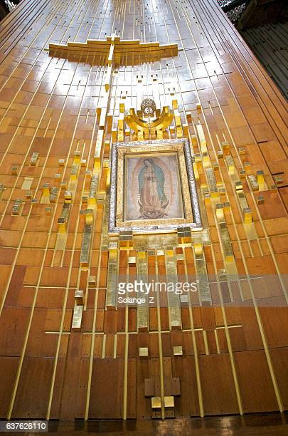 inside basilica of our lady of guadalupe in mexico city - basilica of our lady of guadalupe stock pictures, royalty-free photos & images