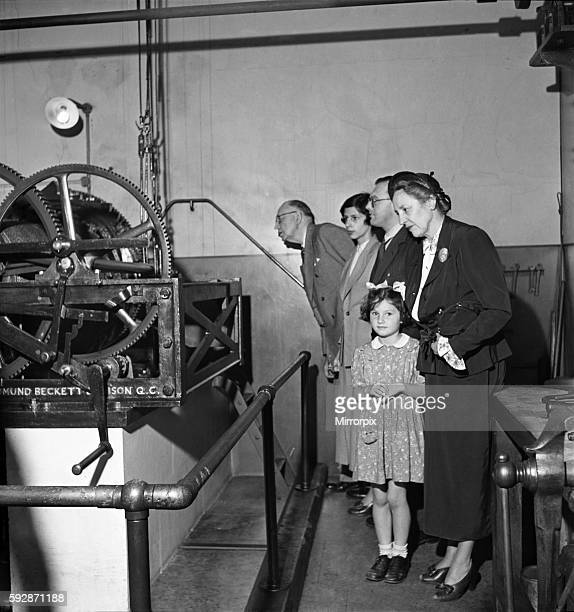 Inside Big Ben clock in London 1949. O19836