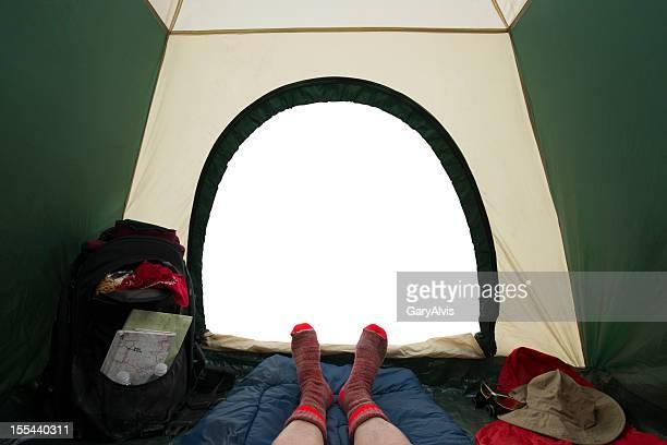 Innen camping Zelt blickt-clipping path