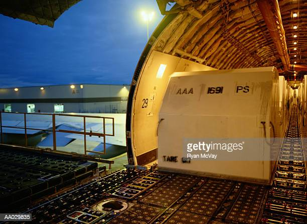 inside cargo airplane - cargo airplane stock photos and pictures
