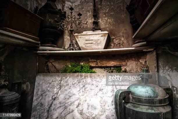 inside crypt, la recoleta, buenos aires - urn stock pictures, royalty-free photos & images
