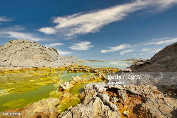 inside dallol volcano crater at danakil depression ethiopia - horn of africa stock pictures, royalty-free photos & images