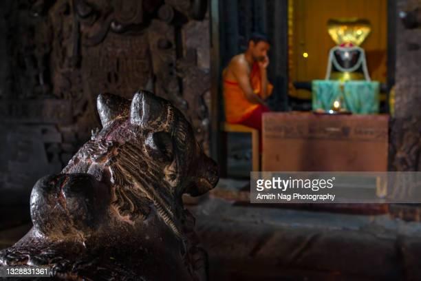inside hoysaleswara temple at halebidu - linda rama - fotografias e filmes do acervo