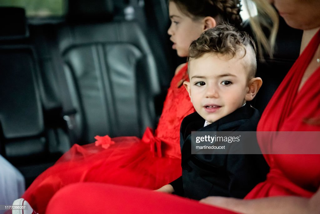 Inside limousine on the way for millennial wedding. : Stock Photo