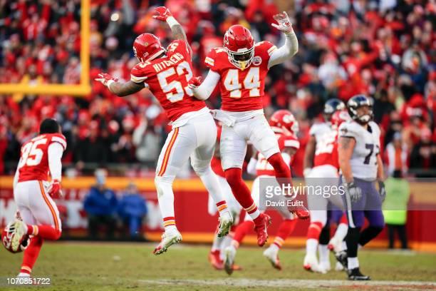 Inside linebacker Anthony Hitchens of the Kansas City Chiefs and linebacker Dorian O'Daniel of the Kansas City Chiefs lept in the air in celebration...
