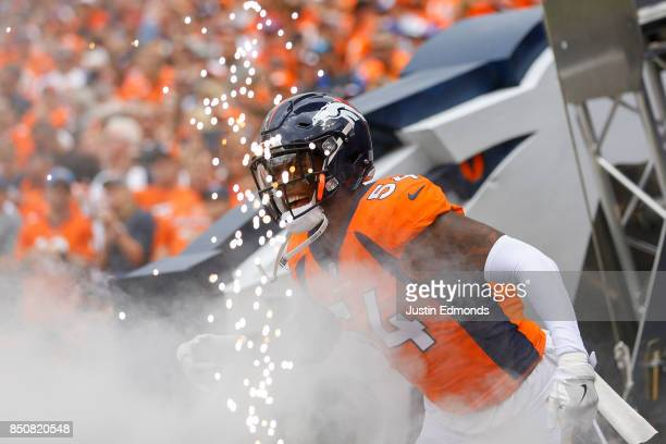 Inside linebacker Brandon Marshall of the Denver Broncos is introduced before a game against the Dallas Cowboys at Sports Authority Field at Mile...