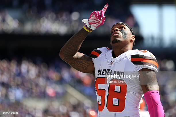 Inside linebacker Chris Kirksey of the Cleveland Browns gestures before the start of a game against the Baltimore Ravens at MT Bank Stadium on...