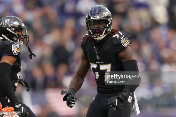 Inside Linebacker CJ Mosley of the Baltimore Ravens reacts after a play in the fourth quarter against the Cincinnati Bengals at MT Bank Stadium on...