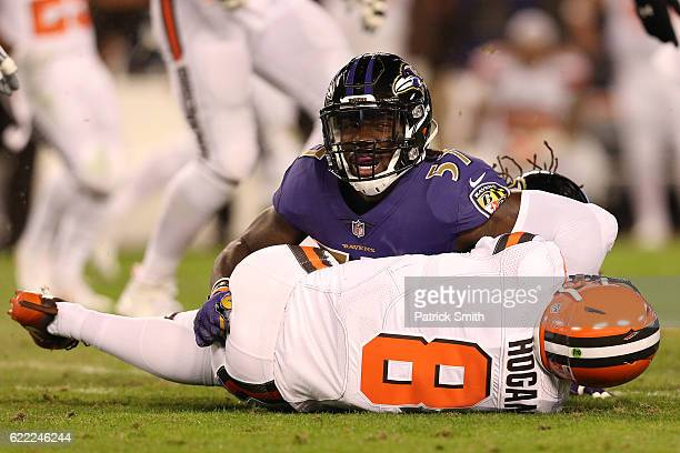 Inside linebacker CJ Mosley of the Baltimore Ravens sacks quarterback Kevin Hogan of the Cleveland Browns in the first quarter at MT Bank Stadium on...