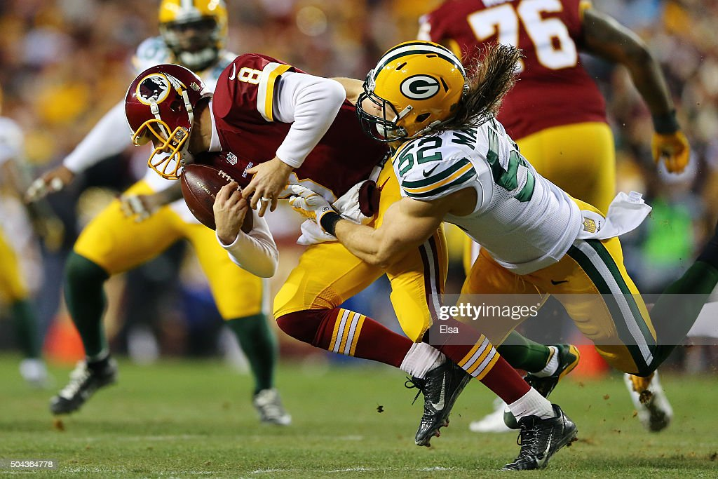 Inside linebacker Clay Matthews #52 of the Green Bay Packers sacks quarterback Kirk Cousins #8 of the Washington Redskins in the first quarter during the NFC Wild Card Playoff game at FedExField on January 10, 2016 in Landover, Maryland.
