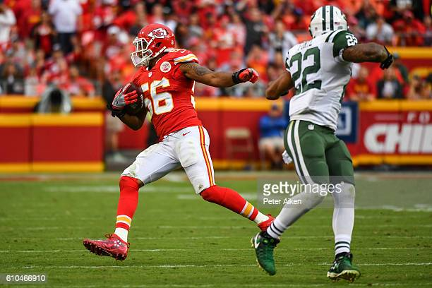 Inside linebacker Derrick Johnson of the Kansas City Chiefs intercepts a pass intended for running back Matt Forte of the New York Jets that would be...