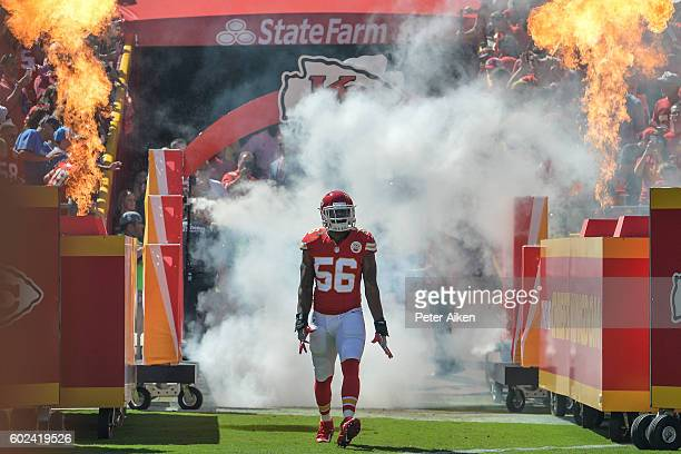 Inside linebacker Derrick Johnson of the Kansas City Chiefs enters the field during pre game warm ups before the game against the San Diego Chargers...