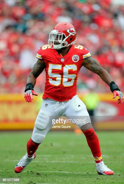 Inside linebacker Derrick Johnson of the Kansas City Chiefs in action during the game against the Philadelphia Eagles at Arrowhead Stadium on...