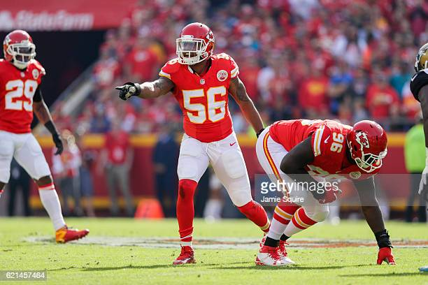 Inside linebacker Derrick Johnson of the Kansas City Chiefs sets an alignment call for his defensive backs against the Jacksonville Jaguars at...