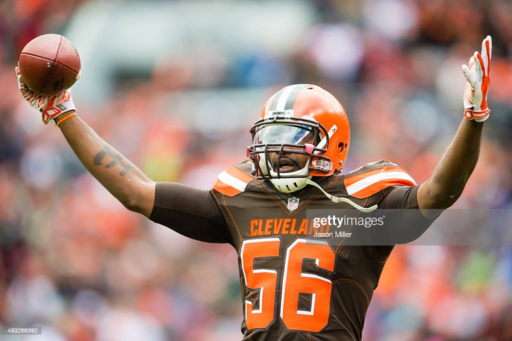 Inside linebacker Karlos Dansby #56 of the Cleveland Browns celebrates after making an interception during the first half against the Denver Broncos at FirstEnergy Stadium on October 18, 2015 in Cleveland, Ohio.