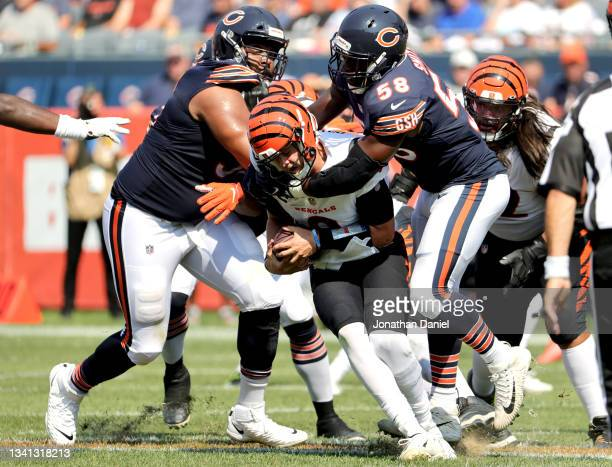 Inside linebacker Roquan Smith of the Chicago Bears sacks quarterback Joe Burrow of the Cincinnati Bengals during the second half at Soldier Field on...