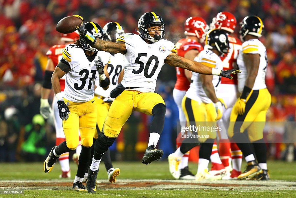 Inside linebacker Ryan Shazier #50 of the Pittsburgh Steelers celebrates a play against the Kansas City Chiefs during the second quarter in the AFC Divisional Playoff game at Arrowhead Stadium on January 15, 2017 in Kansas City, Missouri.
