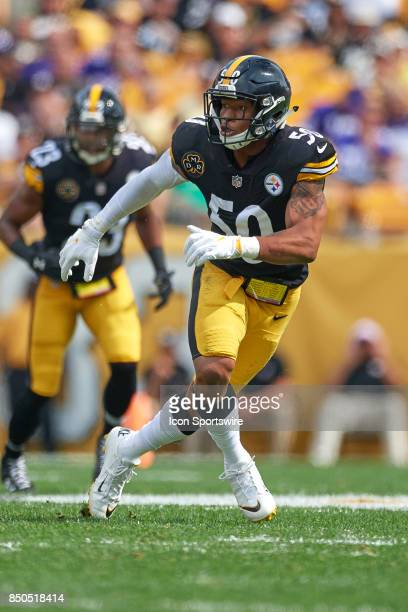 Inside linebacker Ryan Shazier of the Pittsburgh Steelers reacts during an NFL football game between the Minnesota Vikings and the Pittsburgh...