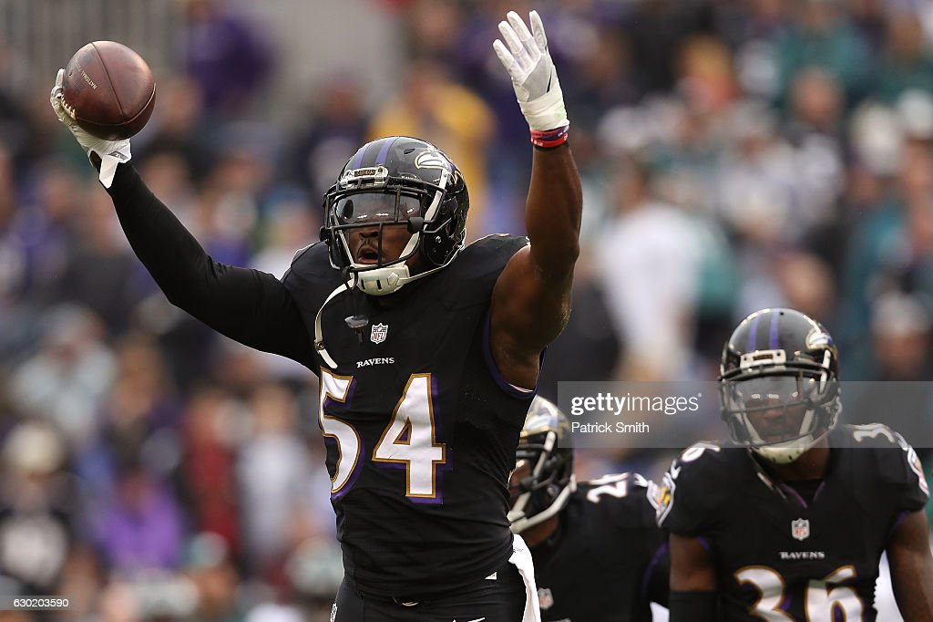 Inside linebacker Zach Orr #54 of the Baltimore Ravens reacts after making an interception in the first quarter against the Philadelphia Eagles at M&T Bank Stadium on December 18, 2016 in Baltimore, Maryland.
