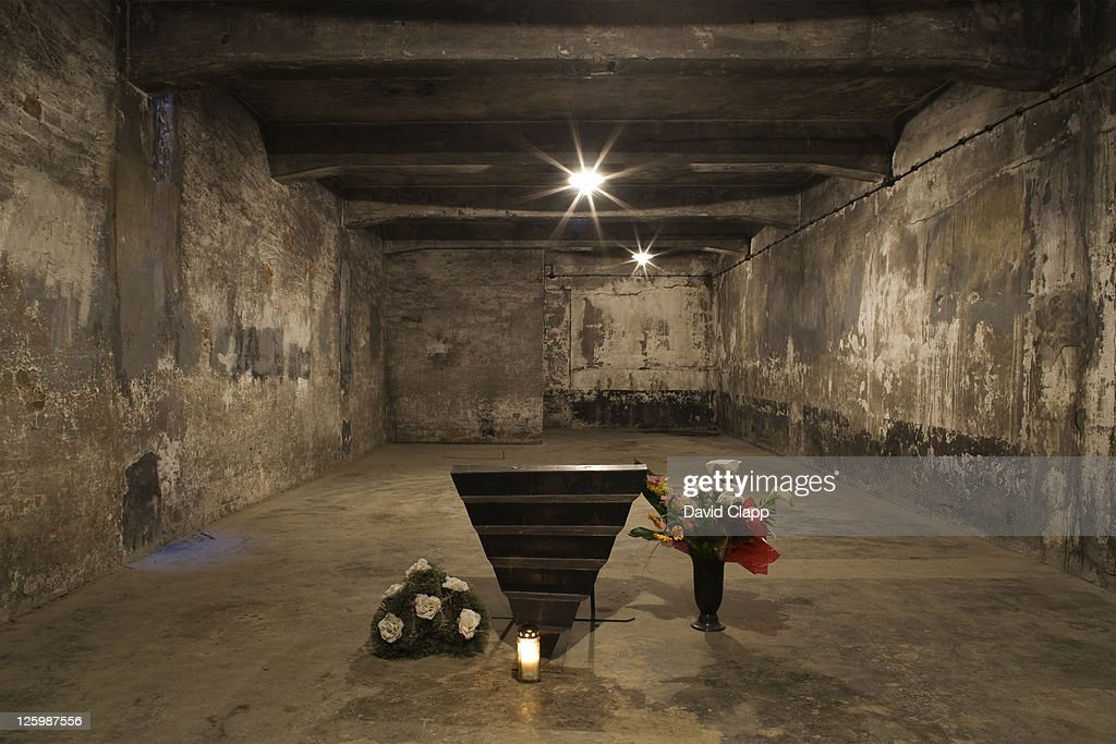 Inside main Gas Chamber where millions of prisoners were executed in Auschwitz Concentration Camp, Poland : Stock Photo