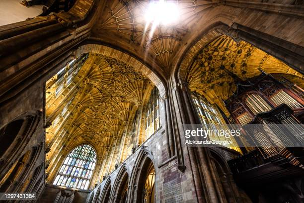 inside majestic sherborne abbey - spire stock pictures, royalty-free photos & images