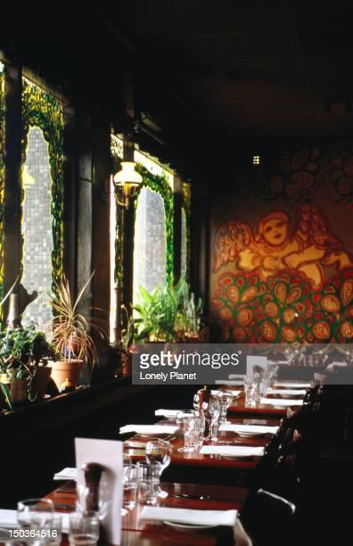 Inside Mirka at Tolarno restaurant St Kilda.