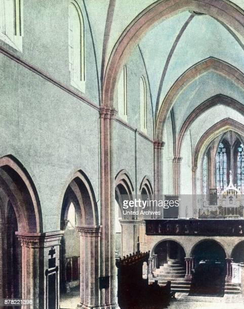 Inside Naumburg cathedral Thuringia 1920s