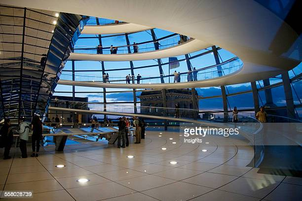Inside Norman Foster's Dome Of The Reichstag Building At Night Berlin Germany