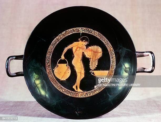 Inside of a cup with red figure of girl washing 480 BC Greek civilisation 5th century BC Bruxelles Institut Royal Du Patrimoine Artistique