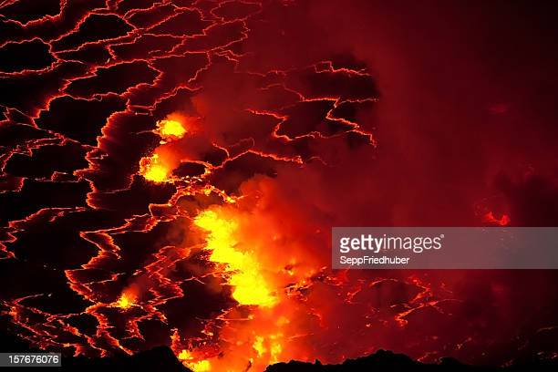Inside of a volcano crater filled with boiling lava