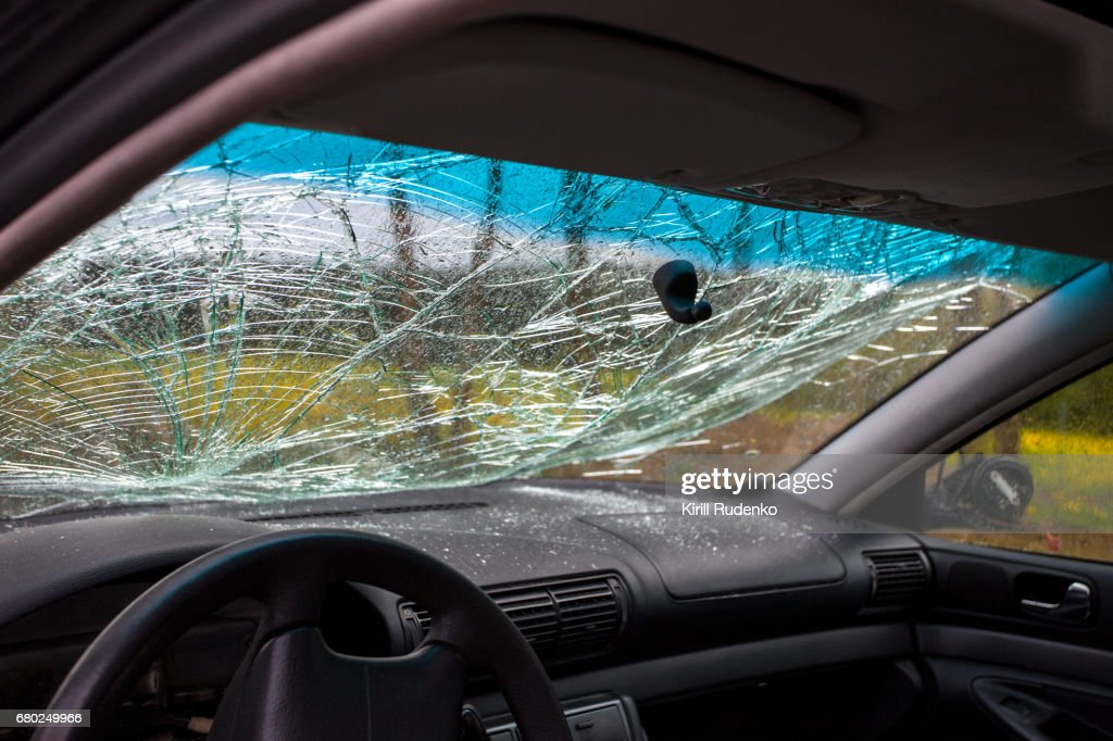 Inside of a wrecked car : Stock Photo