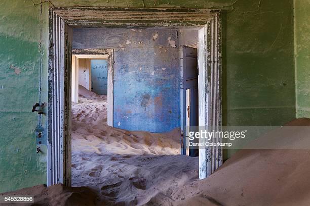 Inside of abandoned building at ghost town Kolmanskop near Lüderitz in Namibia, Africa