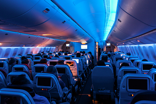 Inside of an airplane 1124688501
