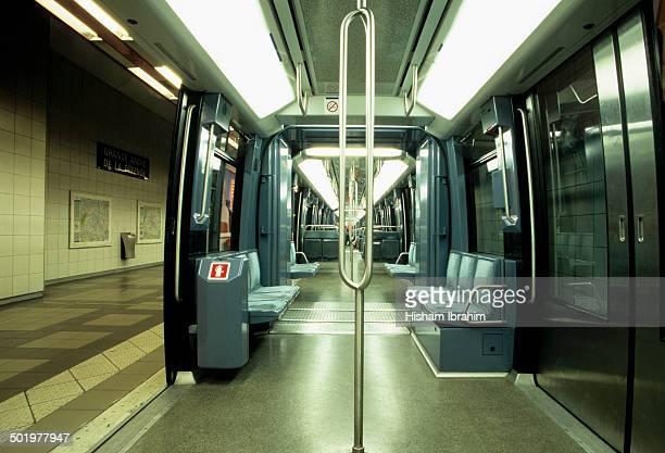 Inside of an underground metro train, Paris