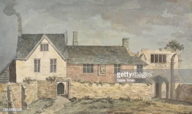 Inside of Castle Gate, Taunton, Somerset, John Inigo Richards RA, 1730/31?–1810, British Watercolor and graphite on medium, slightly textured, cream...