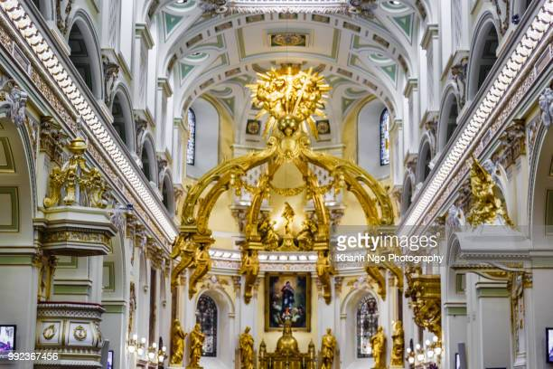 inside of church - old quebec city - khanh ngo stock pictures, royalty-free photos & images