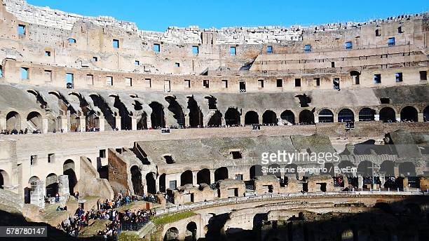 inside of coliseum amphitheater - inside the roman colosseum stock photos and pictures