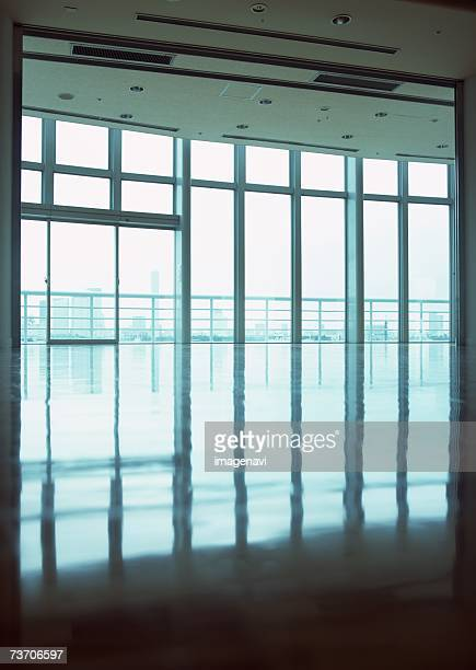 Inside of glass-walled building