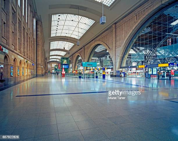 inside of leipzig main train station - railway station stock pictures, royalty-free photos & images