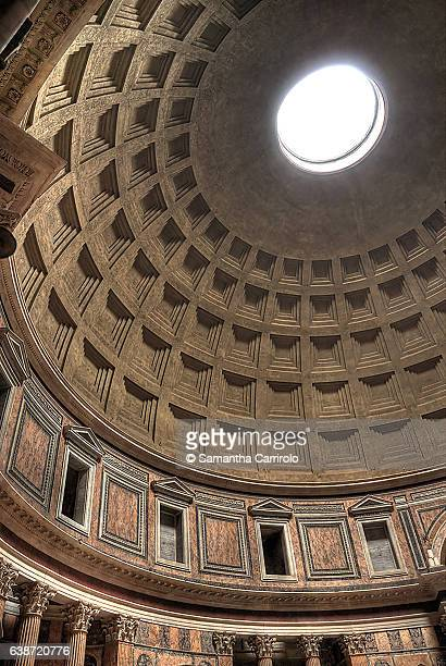inside of pantheon, roma. - pantheon rome stock photos and pictures