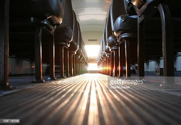 Inside of School Bus with Sun Shining In